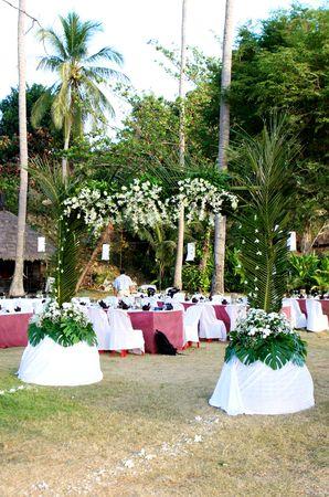 Romantic outdoors wedding reception.