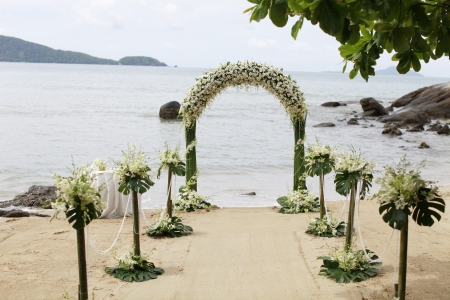 Ceremony set-up for a wedding in beach Thailand.