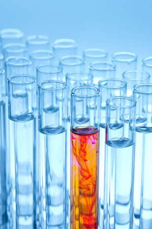 Test tubes in a laboratory experiment in chemistry