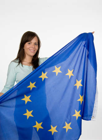 a young woman with a national flag
