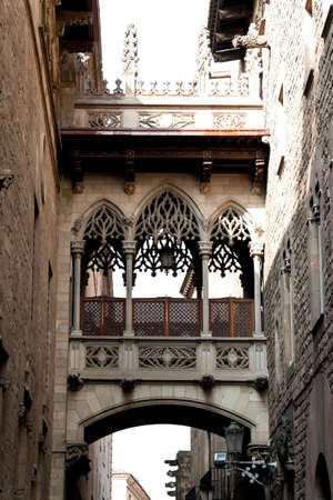 Old Town, Barri Gotic, Barcelona, Catalonia, Spain, Europe. Vertically framed shot.