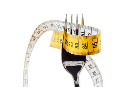 Set with tape measure. Symbolic for diet and weight loss.