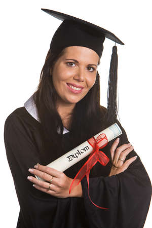 Young woman as a student after successful graduation with doctoral