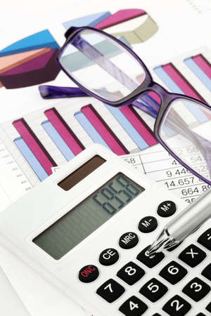 A calculator and various statistics in the calculation of balance sheet, revenue and profit.