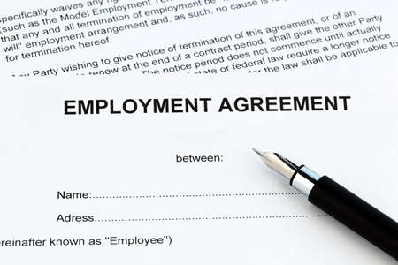 The employment of an employee with the employer. (In English)