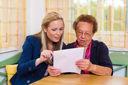 a grandchild visiting his grandmother, and read a contract