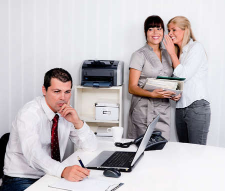 bullying in the workplace an office. , laugh at a colleague