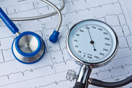 blood pressure measurement and ecg curve  sickness due to high blood pressure