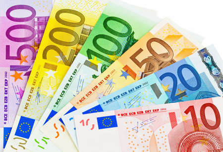 euro banknotes money the eu  money isolated on a white background