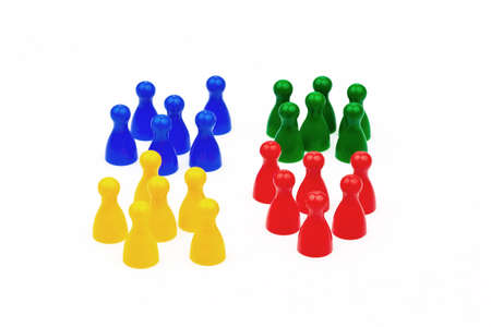 different colored figures of the game. distinction of colors and groups.