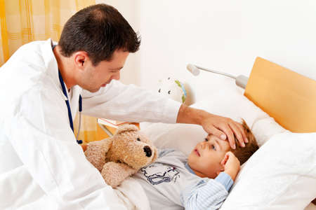 a physician house call  examines sick child