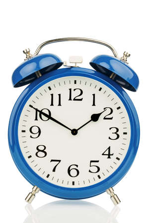 a blue alarm clock on a white background  a wake white dial
