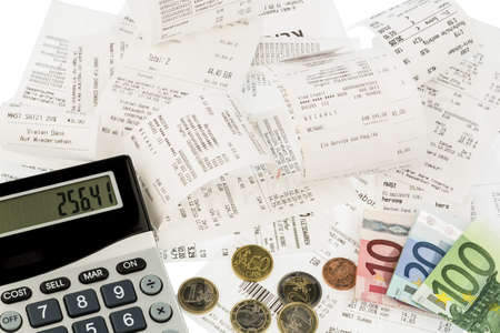 calculator, receipts and money symbol photo for savings, purchasing power and inflation