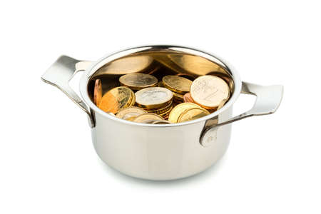 a cooking pot, to hÀfte filled with euro coins photo icon on debt and financial needs