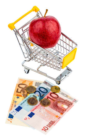 an apple is in a shopping cart  photo icon for the purchase of healthy, vitamin-rich foods