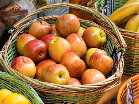 basket of apples on the market