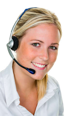 young woman with telephone headset in the office in order acceptance  sales and customer service