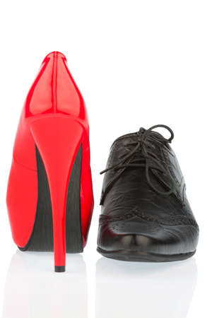 ladies shoes and men's shoes, symbol photo for partnership and equality