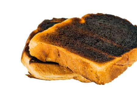 toast was burnt during toasting. burnt toast at breakfast.