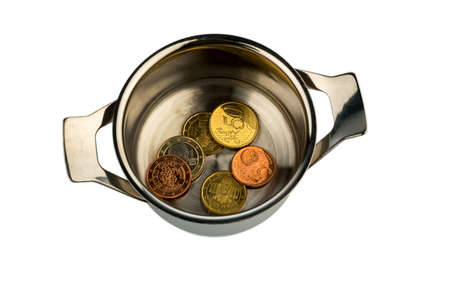 few euro coins in a saucepan, symbolic photo for sovereign debt and financial requirements