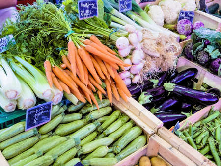 selection of vegetables at the market, symbolic photo for food, healthy eating, retail