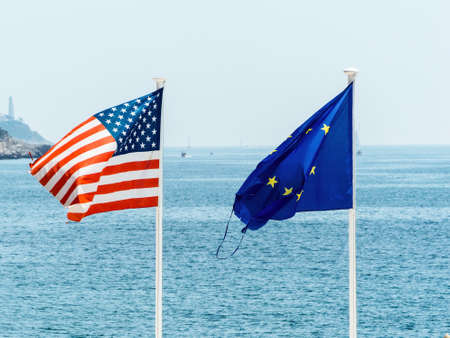 flags of the european union and the united states, symbolic photo for partnership, diplomacy, foreign policy