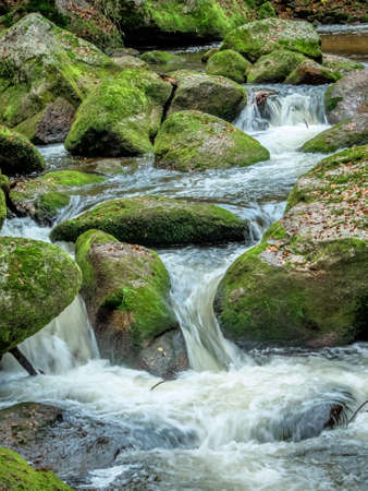 a creek with rocks and flowing water. landscape experience in nature.