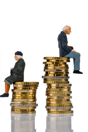 pensioners and pensioner sitting on money stack symbol photo for retirement and inequality