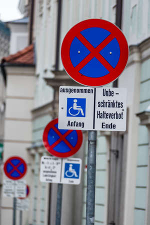 no stopping sign wheelchair symbol of prohibitions, towing, fine