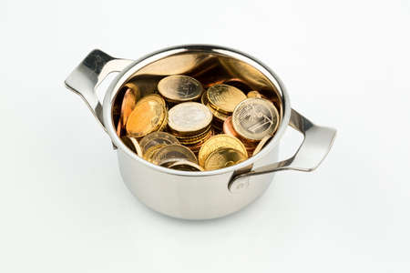 a cooking pot, to hÀfte filled with euro coins photo icon for sovereign debt and financial requirements