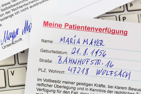 an advance in german. instructions for the doctor or the hospital in the event of a terminal illness.