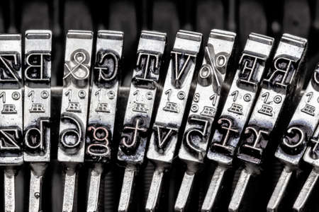 types and characters of an old typewriter. symbol photo for communication in earlier times