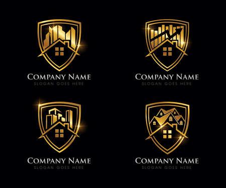 Illustration pour A Vector Illustration of Golden Real Estate Logo Sign - image libre de droit