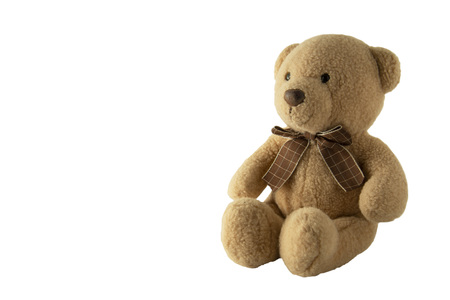 Foto de toy teddy isolated on white background, isolated. Parenting and education. Lovely toy. - Imagen libre de derechos