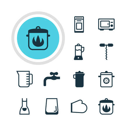 Vector Illustration Of 12 Kitchenware Icons. Editable Pack Of Oven Mitts, Faucet, Oven And Other Elements.