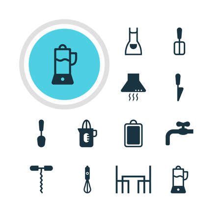 Vector Illustration Of 12 Kitchenware Icons. Editable Pack Of Extractor Appliance, Shaker, Kitchen Dagger And Other Elements.