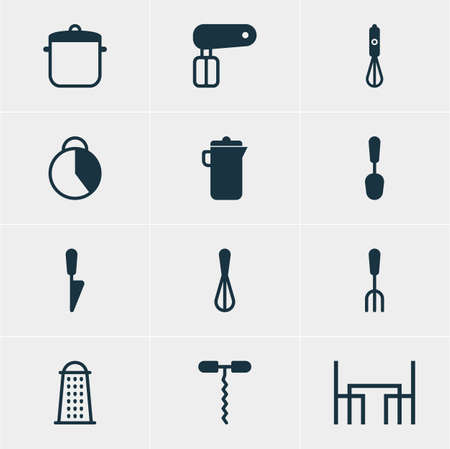 Editable Pack Of Fork, Soup Pan, Timekeeper And Other Elements Vector Illustration Of 12 Restaurant Icons.