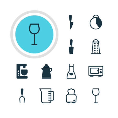 Vector Illustration Of 12 Cooking Icons. Editable Pack Of Kitchen Dagger, Mixer, Carafe And Other Elements.