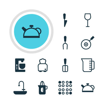 Vector illustration of 12 kitchenware icons. Editable pack of skillet, kitchen dagger.
