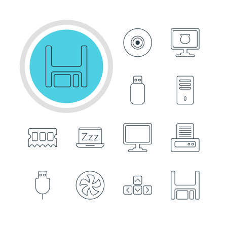 Vector Illustration Of 12 Computer Icons. Editable Pack Of Flash Drive, Memory Chip, Printer And Other Elements.
