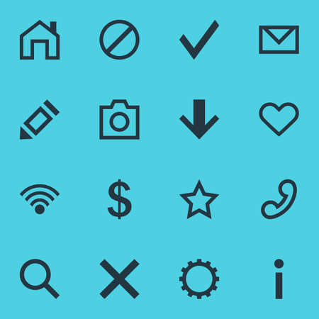 Vector Illustration Of 16 Member Icons. Editable Pack Of Info, Snapshot, Cordless Connection And Other Elements.