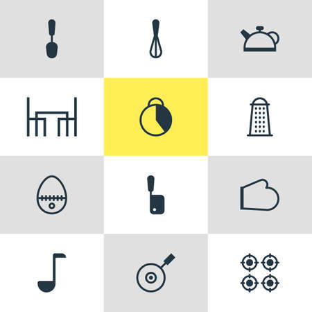 Vector Illustration Of 12 Cooking Icons. Editable Pack Of Butcher Knife, Furnace, Oven Mitts And Other Elements.