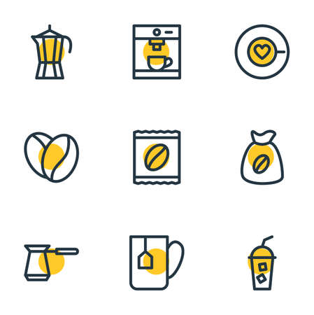 Vector illustration of 9 java icons line style. Editable set of seed, saucer, package latte and other elements.