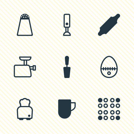 illustration of 9 kitchenware icons. Editable set of rolling pin, blender, egg split and other icon elements.