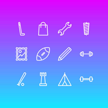 illustration of 12 hobby icons line style. Editable set of sewing, picture, dumbbell and other icon elements.