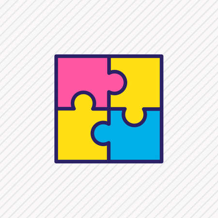 Vector illustration of puzzle icon colored line. Beautiful trade element also can be used as jigsaw icon element.