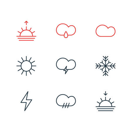 Illustration pour Vector illustration of 9 weather icons line style. Editable set of storm, sunset, rain and other icon elements. - image libre de droit