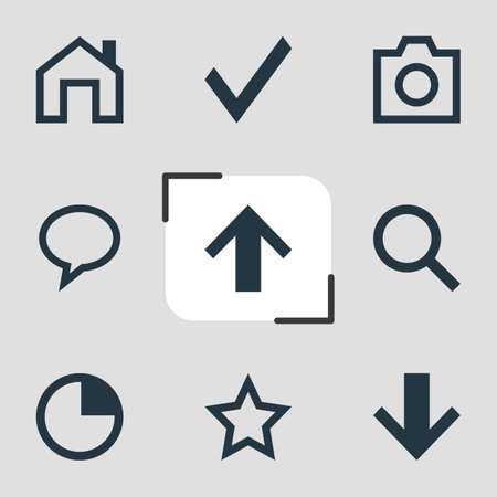illustration of 9 member icons. Editable set of star, timer, down and other icon elements.