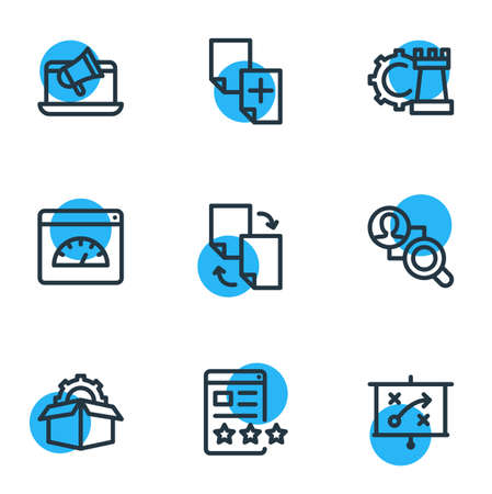 illustration of 9 advertisement icons line style. Editable set of duplicate content, game developing, competitor analysis and other icon elements.