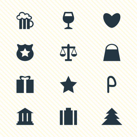 illustration of 12 location icons. Editable set of pub, gift, law and other icon elements.